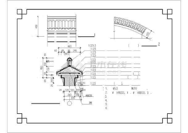 某地仿古代围墙(马头墙)披檐建筑设计cad施工图-图2