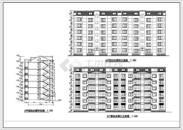 某住宅标准层建筑cad设计施工图-图1