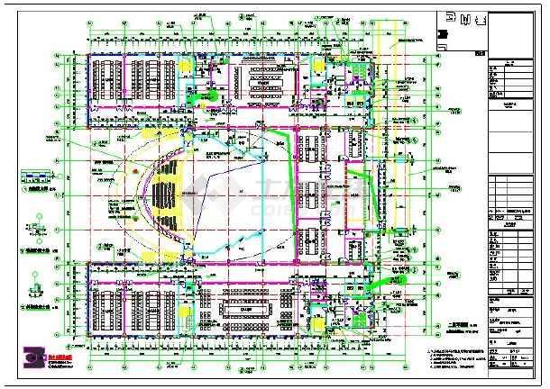 钢结构5层会议中心报告厅建筑结构cad图