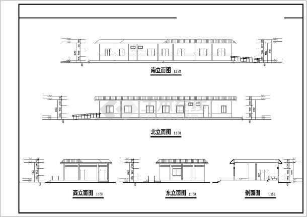 某农村中学建筑设计图cad-图1