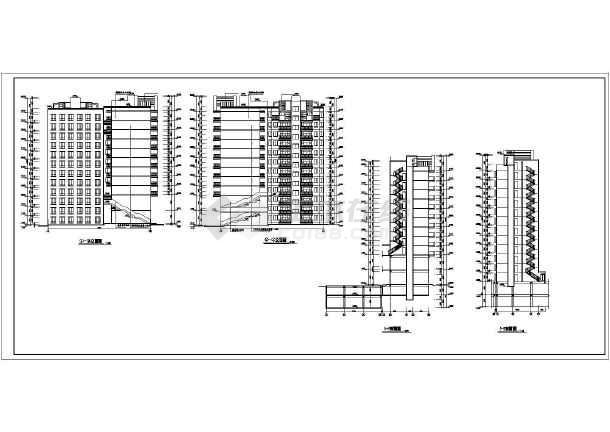 某市区小高层住宅楼建筑CAD施工设计图-图2