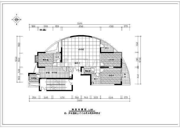 半圆户型办公室室内装修cad施工图