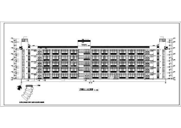 某技术学院教学楼施工建筑CAD设计图-图1