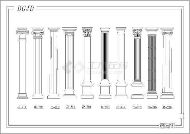 本图为欧式建筑构件图纸,包括内容:立面图,剖面图,平面图等内容详实