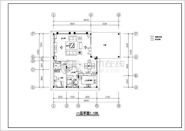 北京某别墅室内设计装修cad施工图-图1