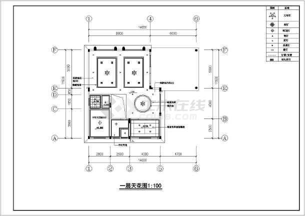 北京某别墅室内设计装修cad施工图-图3