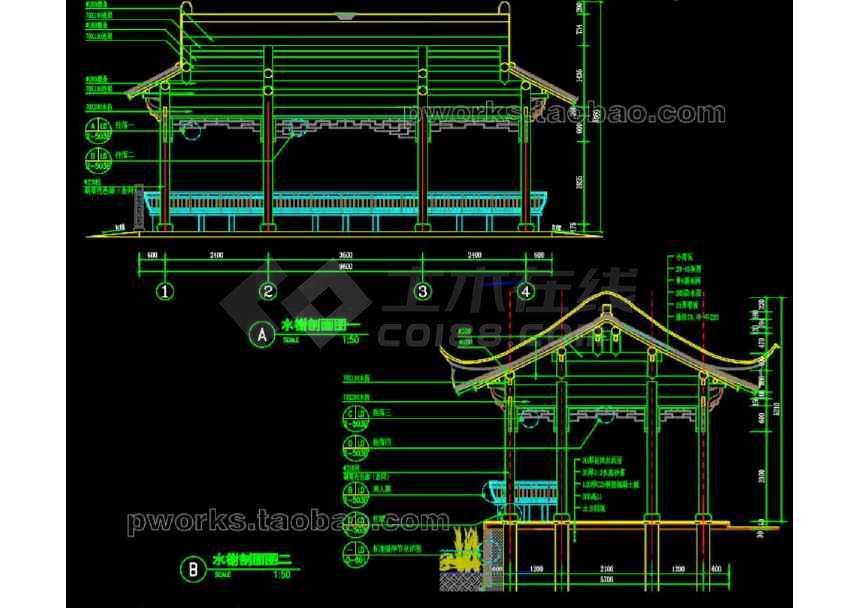 中式水榭园林景观cad设计施工图-图1