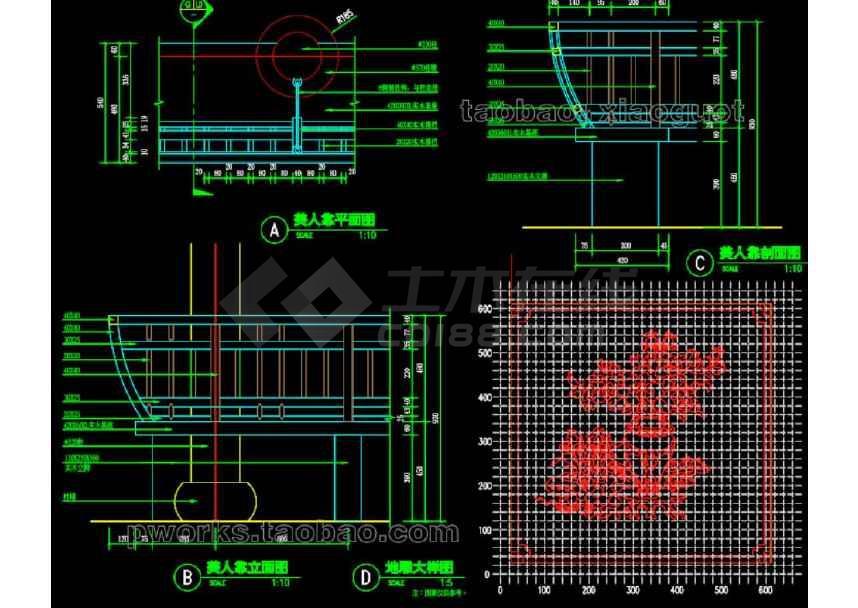 中式水榭园林景观cad设计施工图-图2