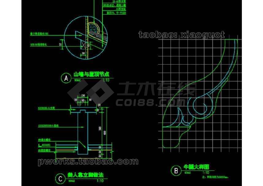 中式水榭园林景观cad设计施工图-图3