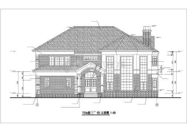 本图为钢结构别墅建筑设计图,包括内容:t23a型一层平面图,立面图,剖面