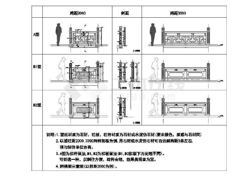 石栏杆景观设计cad施工图(节点详细)-图2