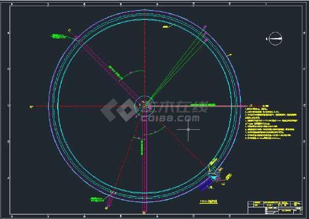 沉淀池施工图CAD图纸-图1