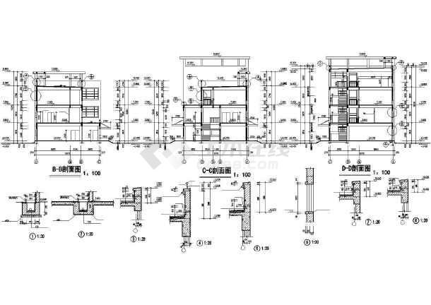 某学校浴室建筑施工CAD设计图-图1