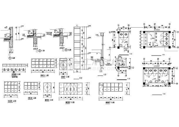 某学校浴室建筑施工CAD设计图-图2