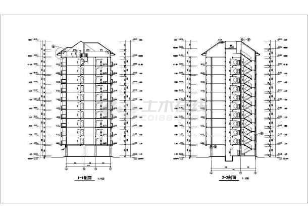 某沿街小高层下载CAD施工图纸一厅室一cad建筑图片