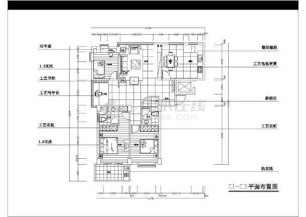 某小区住宅户型方案建筑CAD设计图集-图3