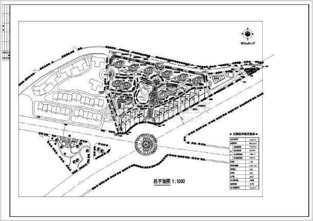 某住宅小区园林景观规划设计cad总平面图纸-图1
