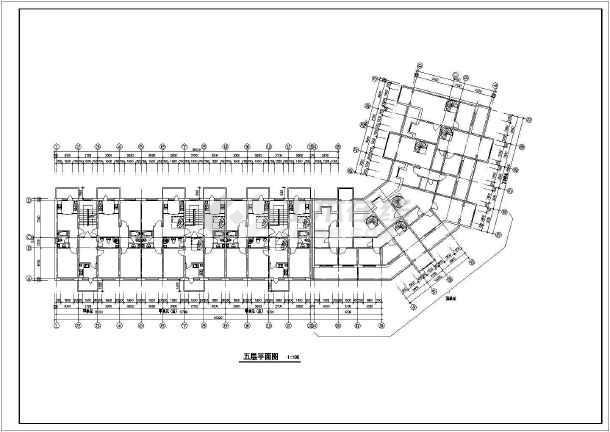 某小区多层转角楼住宅楼CAD建筑设计图-图3