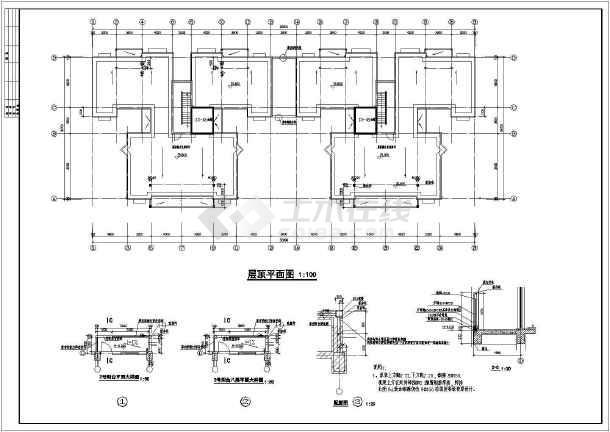 某地区一套详细的多层住宅建筑图(含银河娱乐官网说明)-图3