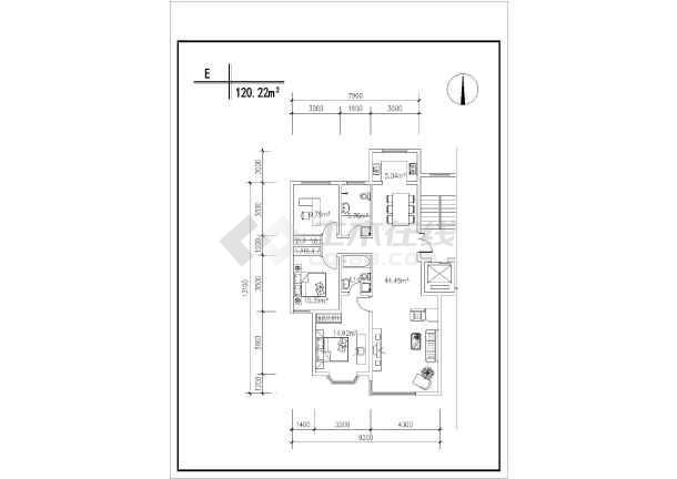 某居民住宅楼CAD建筑设计户型图集-图3