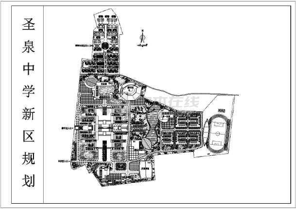 某市区中学新区规划设计cad总平面图-图1