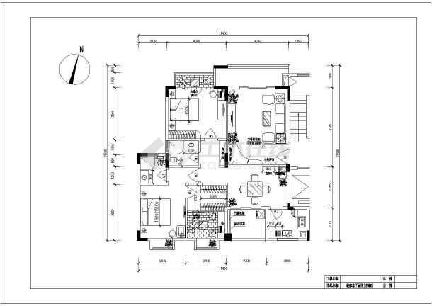 三室两厅两卫cad平面装修全套施工图-图1