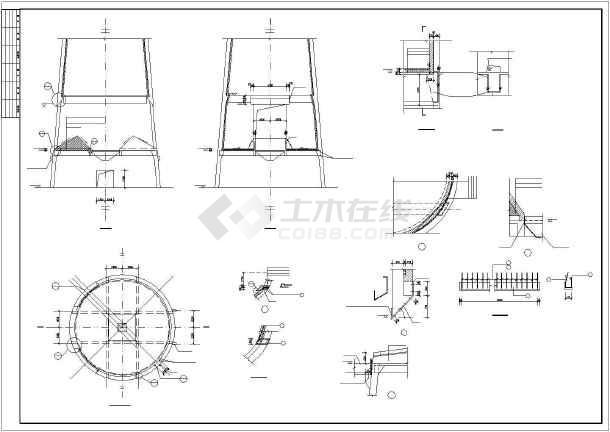 超高180米混凝土烟囱cad结构设计施工图-图2