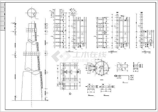 超高180米混凝土烟囱cad结构设计施工图图片