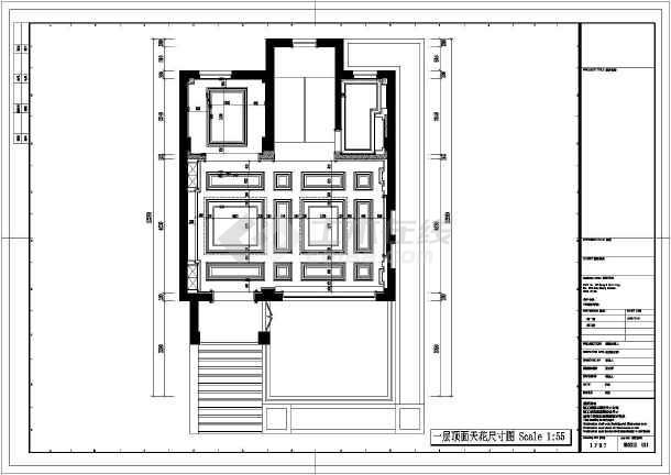 某地欧式风格的别墅室内设计施工CAD图-图3