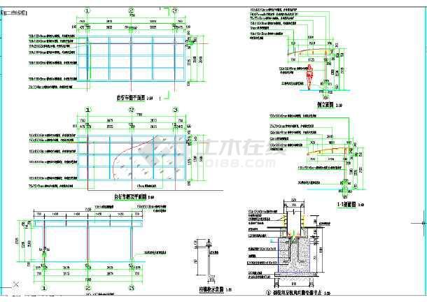 某地厂区钢结构自行车棚详图