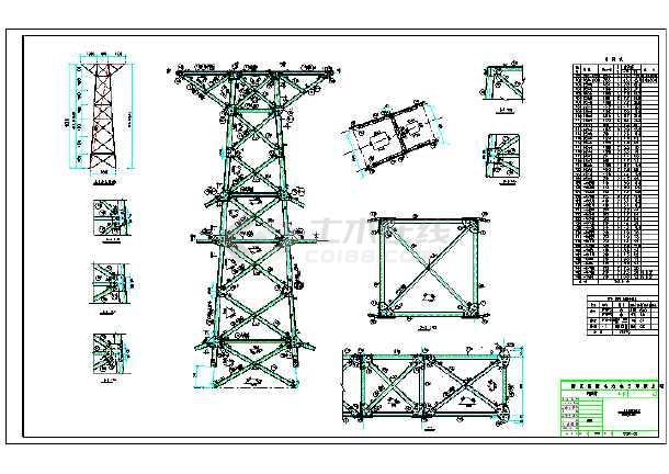 双回路60度铁塔全套结构施工图纸-图1