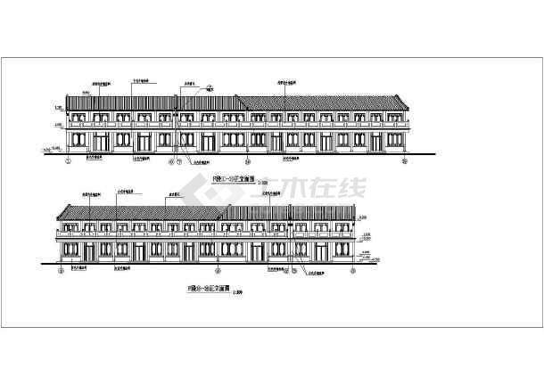 仿古街建筑施工设计CAD图-图2