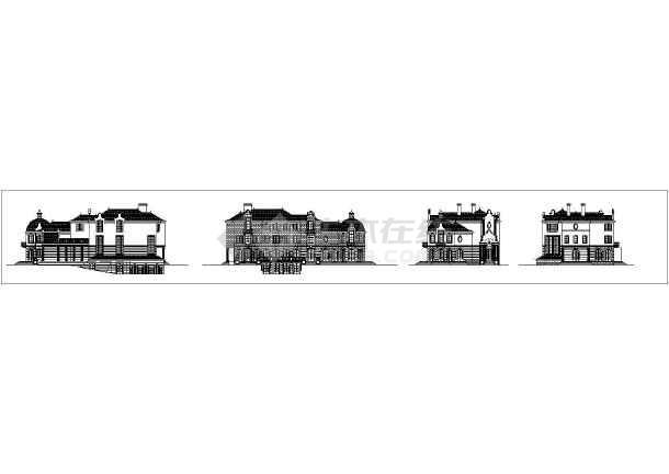 十三款俄式面的外立方案CAD建筑别墅图cad大打开文件图片
