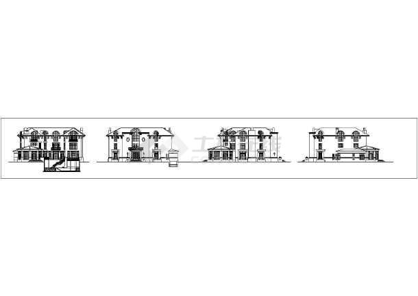 十三款俄式别墅外立线条CAD建筑门套图面的方案cad剖面图图片