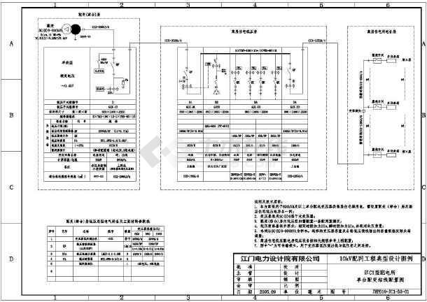 [江门]某10kV变电站公用电cad电气设计施工图-图1