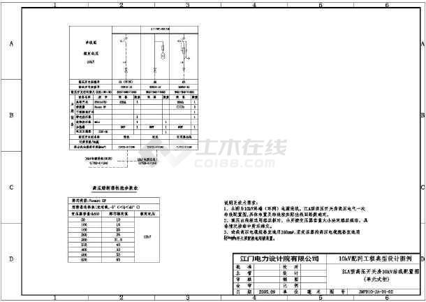 [江门]某10kV变电站公用电cad电气设计施工图-图3