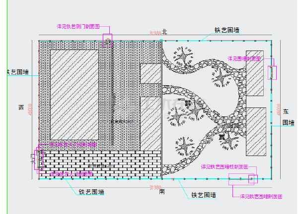 铁艺大门、砖砌围墙,钢筋混凝土柱子结构设计图-图1