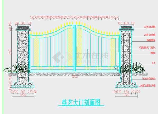 铁艺大门、砖砌围墙,钢筋混凝土柱子结构设计图-图2