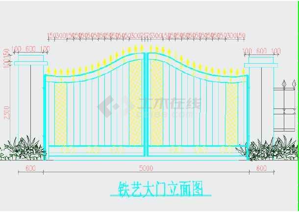 铁艺大门、砖砌围墙,钢筋混凝土柱子结构设计图-图3