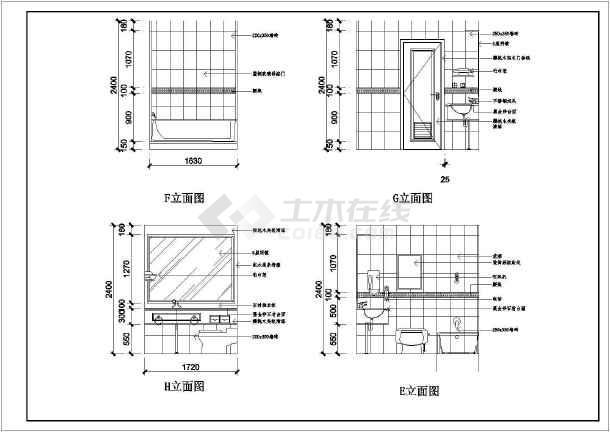 某宾馆酒店装修设计cad施工图-图3