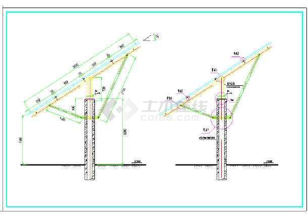 预应力混凝土管桩光伏支架设计图纸包括4x11组件平面布置图,4x11支架