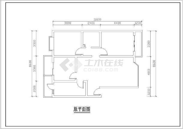 某户型室内设计装修cad设计施工图-图1