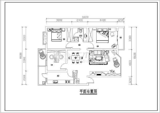 某户型室内设计装修cad设计施工图-图3