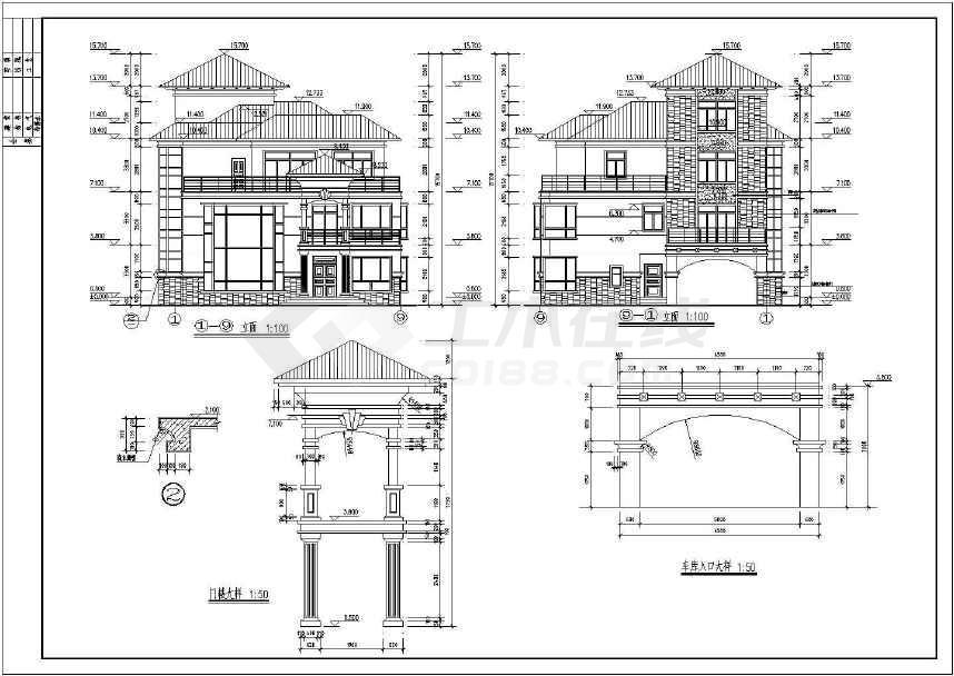 两套仿古别墅建筑图-图3