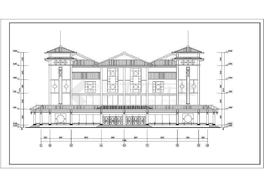 现代仿古建筑服务中心建筑图-图2
