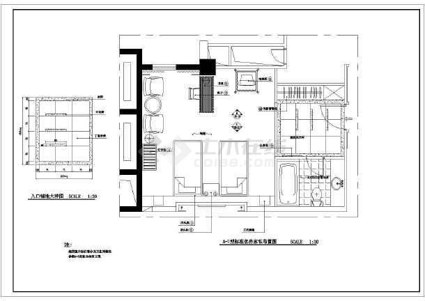 某酒店标准客房家装cad布置施工图-图2