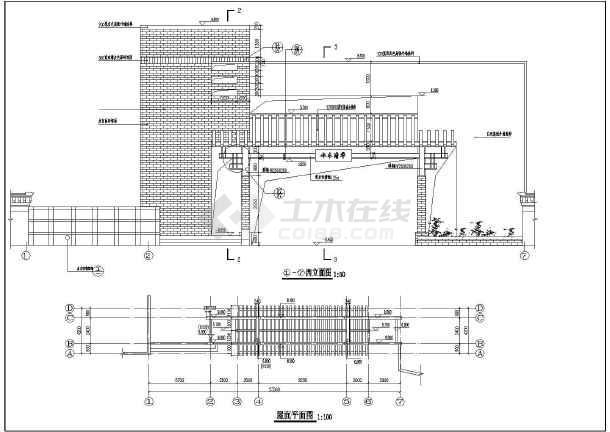 某别墅小区特色大门建筑设计施工CAD图-图1