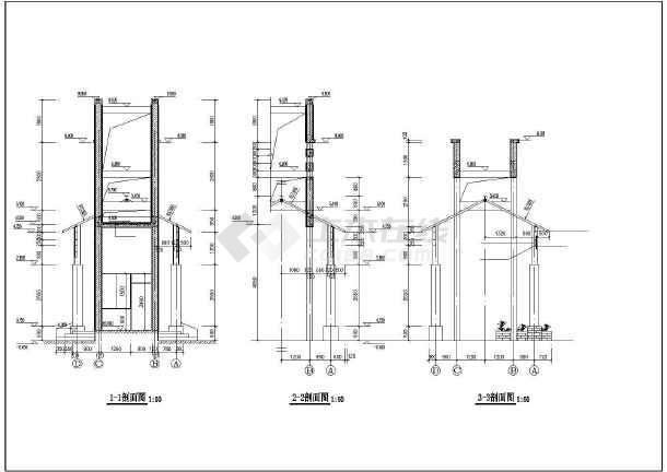 某别墅小区特色大门建筑设计施工CAD图-图2