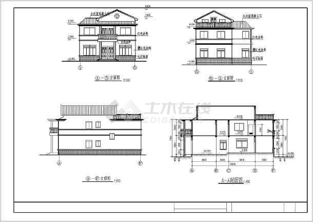 某地带阁楼别墅建筑施工图(共5张)-图3
