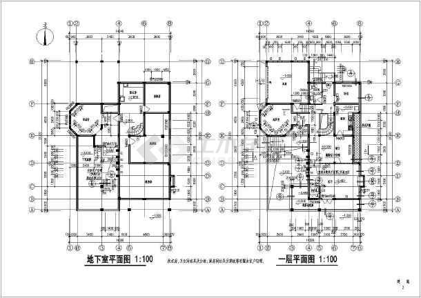 某地大型两层独立豪华别墅建筑施工图(共13张)-图2